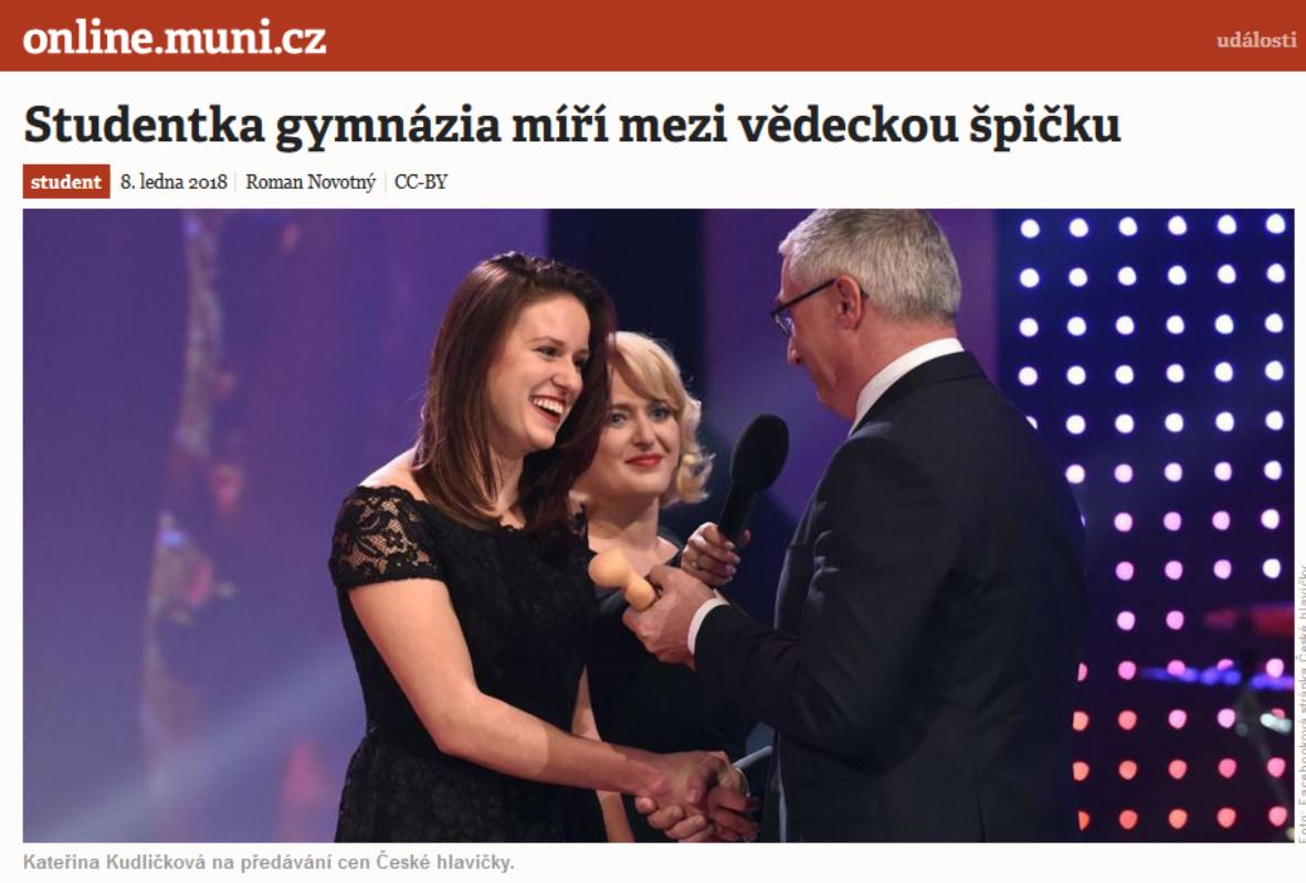 2018 – úspěch naší středoškolské studenty v soutěži Česká hlavička