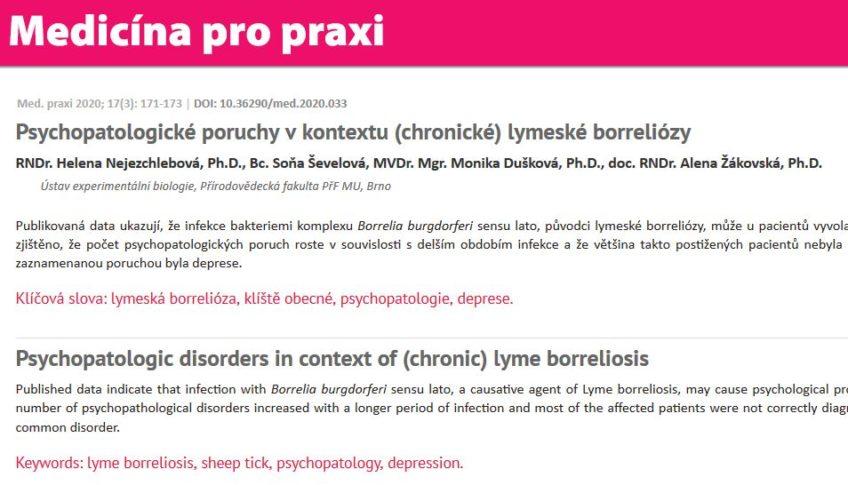 Psychopatologické poruchy v kontextu (chronické) lymeské borreliózy