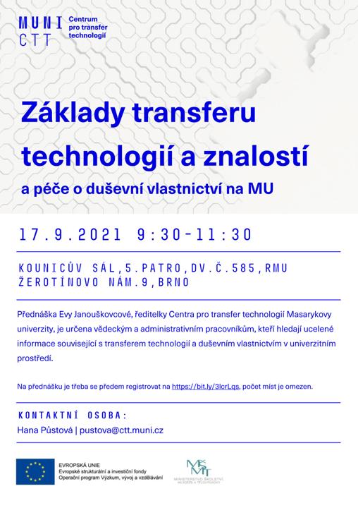 Přednáška o základech transferu technologií a znalostí – 17. 9. 2021